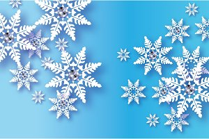 Origami Snowfall with diamond. Crystal Happy New Year Greetings card. Brilliant Merry Christmas. White Paper cut snow flake. Winter snowflakes. Holidays. Blue background. Vector