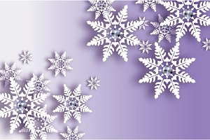 Origami Snowfall with diamond. Crystal Happy New Year Greetings card. Brilliant Merry Christmas. White Paper cut snow flake. Winter snowflakes. Holidays. Purple background. Vector