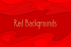 Red background set. Papercut design.