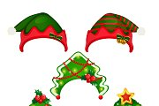 Set of new year and winter hats