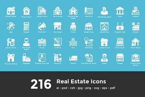216 Real Estate Glyph Icons