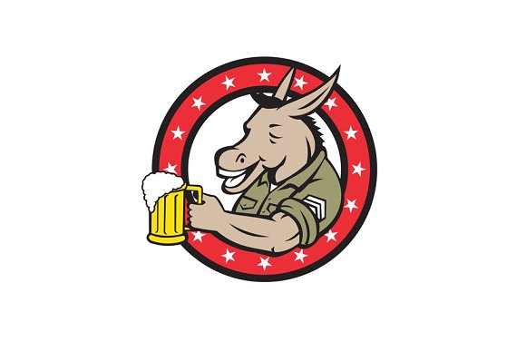 Donkey Beer Drinker Circle Retro in Illustrations