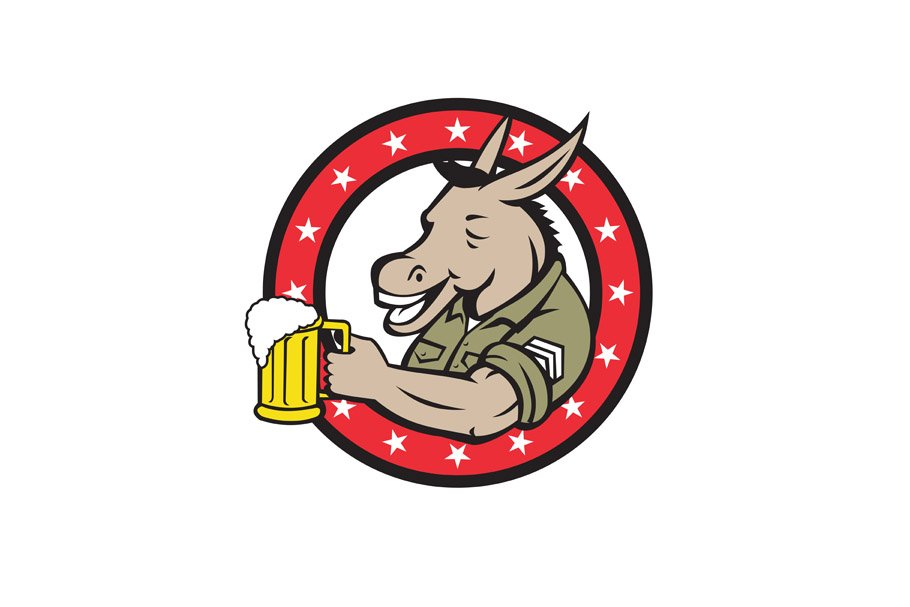 Donkey Beer Drinker Circle Retro in Illustrations - product preview 8