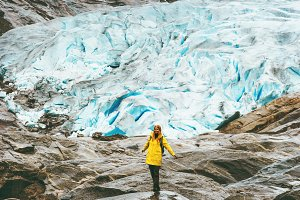 Woman hiking at Nigardsbreen glacier