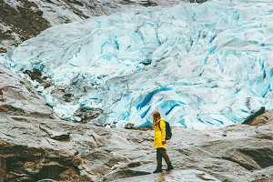 Woman tourist walking Nigardsbreen