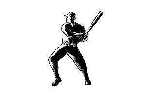 Baseball Player Batting Woodcut Blac