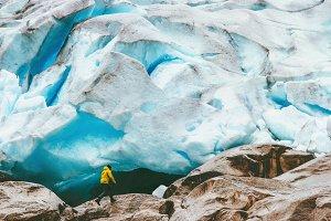 Man running at Nigardsbreen glacier