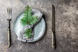 Holiday Christmas food background, cutlery, plate, napkin with ring and Christmas tree branch, table setting in silver tone, stone background