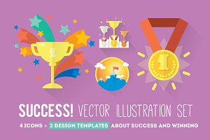 4 Success icons + 2 design templates