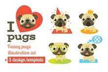 Vector pugs + 3 design templates