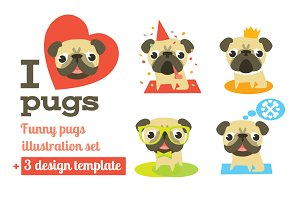 Vector pugs + 3 design templates