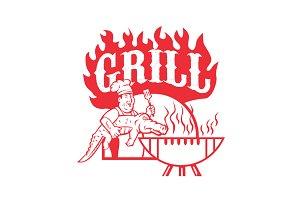 BBQ Chef Carry Gator Grill Retro