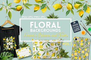 Watercolor Floral Design Set Lemons