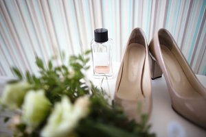 Bride shoes, bouquet, wedding orname
