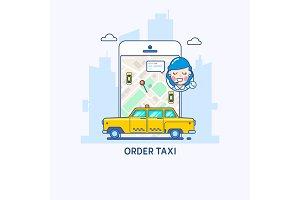 Taxi service. Taxi app illustration. Thin line flat design concept