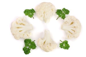 Piece of cauliflower isolated on white background macro. Top view. Flat lay