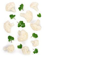 Piece of cauliflower isolated on white background with copy space for your text. Top view. Flat lay