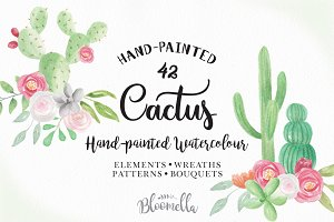 Cactus Watercolor Flower Package