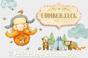 Lumberjack Woodland Waterolors