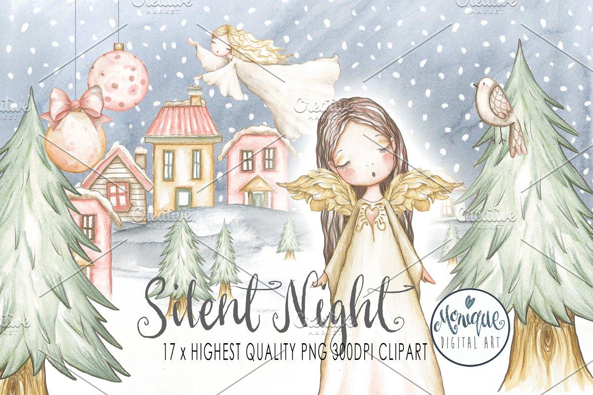 Christmas Angels.Christmas Angels Watercolor Illustrations Creative Market