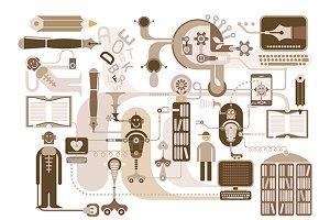 Modern Library - vector illustration