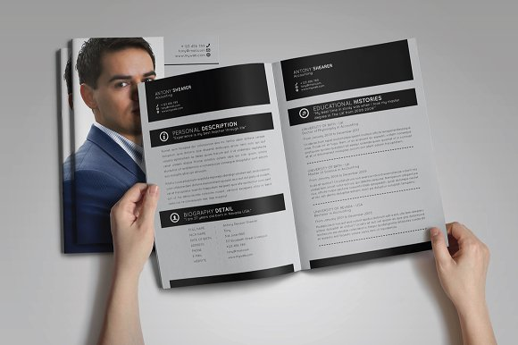 Booklet resume template resume templates creative market maxwellsz
