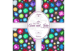 Invitation template card with gems pattern