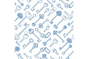 Key seamless pattern in blue outline