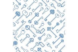 Key seamless pattern in blue outline