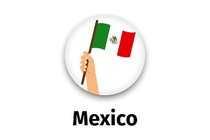 Mexico flag in hand, round icon