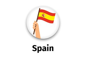 Spain flag in hand, round icon