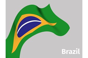 Background with Brazil wavy flag