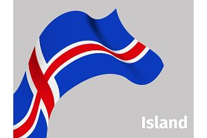 Background with Iceland wavy flag