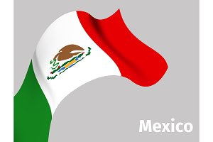 Background with Mexico wavy flag