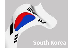 Background with South Korea wavy flag