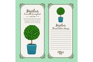Vintage label with myrtus plant