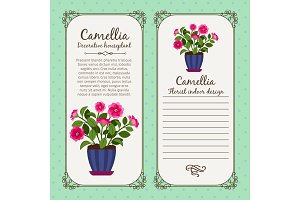 Vintage label with potted flower camellia