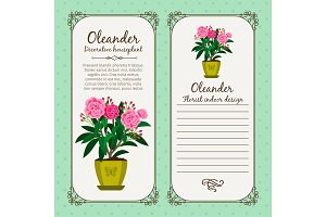 Vintage label with flower oleander