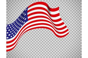 USA flag on transparent background