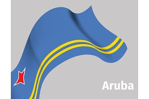 Background with Aruba wavy flag