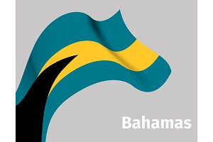 Background with Bahamas wavy flag