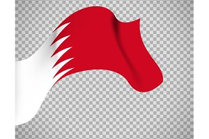 Bahrain flag on transparent background