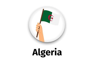 Algeria flag in hand, round icon