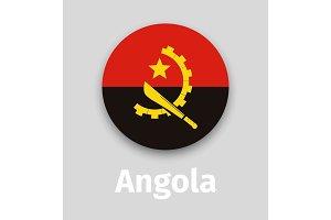 Angola flag, round icon