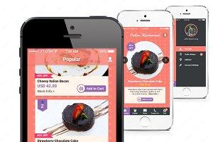 Restaurant Mobile App Mock Up (PSD)