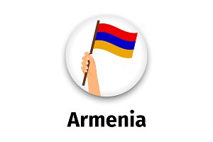 Armenia flag in hand, round icon