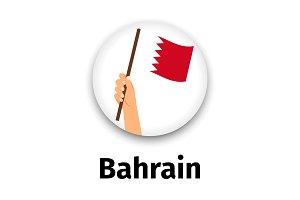 Bahrain flag in hand, round icon