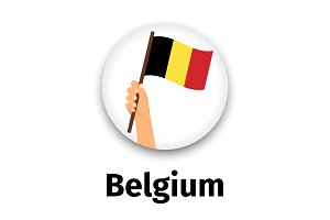 Belgium flag in hand, round icon