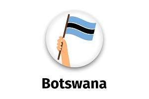 Botswana flag in hand, round icon