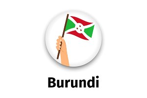 Burundi flag in hand, round icon